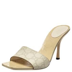 Gucci Cream Guccissima Leather Slide Sandals Size 38.5