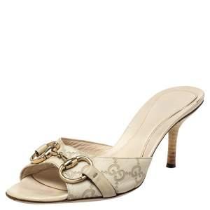 Gucci White GG Leather Horsebit Sandals Size 37