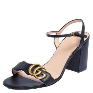 Gucci Black Leather GG Marmont Ankle Strap Sandals Size 39