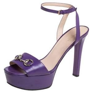 Gucci Purple Leather Horsebit Ankle Strap Platform Sandals Size 40