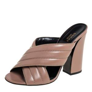 Gucci Brown Quilted Leather Criss Cross Slide Sandals Size 39