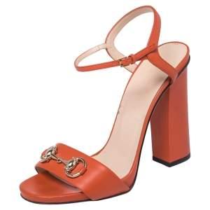 Gucci Orange Leather Horsebit  Ankle Strap Sandals Size 39