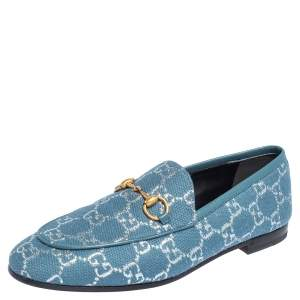 Gucci Blue GG Canvas Brixton Loafers Size 37.5