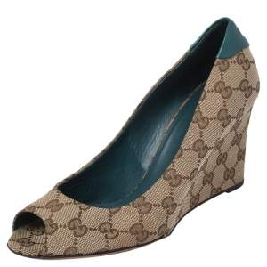 Gucci Beige/Blue GG Canvas And Leather Trim Wedge Peep Toe Pump Size 39.5