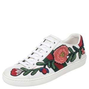Gucci White Floral Embroidered Leather Ace Low Top Sneakers Size 35