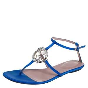 Gucci Blue Satin GG Interlocking Crystal Ankle Strap Sandals Size 38.5