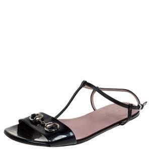 Gucci Black Patent Leather Horsebit T-Strap Flats Size 39.5
