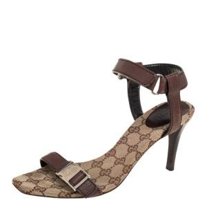 Gucci Brown Leather Side Release Buckle Detail Open Toe Ankle Strap Sandals Size 39