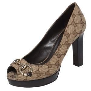 Gucci Beige GG Canvas Horsebit Peep Toe Platform Pumps Size 38