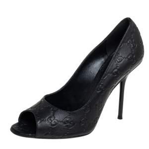 Gucci Black Guccissima Leather  Peep Toe Pumps Size 38