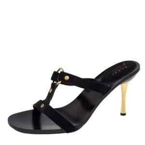 Gucci Black Suede Slide Sandals Size 37