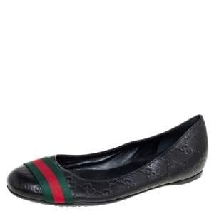 Gucci Black Guccissima Leather Web Stripe Ballet Flats Size 39