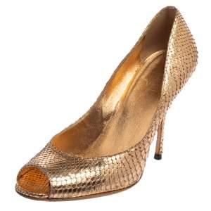 Gucci Gold Python Leather Peep Toe Pumps Size 37