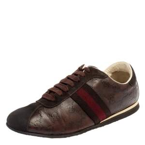 Gucci Brown Guccissima Leather And Suede Lace Up Sneakers Size 40