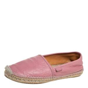 Gucci Pink Guccissima Leather Espadrille Flats Size 40