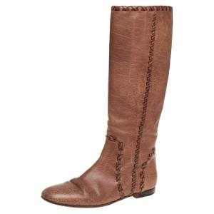 Gucci Tan Leather 'Janis'  Knee Boots Size 40