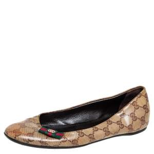 Gucci Brown GG Crystal Canvas Ballet Flats Size 39