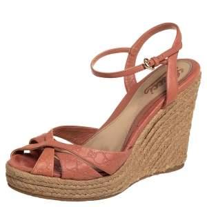 Gucci Pink Leather  Wedge Platform Espadrille Ankle Strap Sandals Size 39
