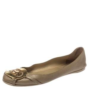 Gucci Metallic Gold Leather GG Buckle Ballet Flats Size 37.5