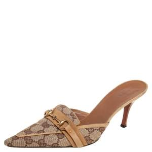 Gucci Beige GG Canvas And Leather Supreme Mule Sandals Size 37.5