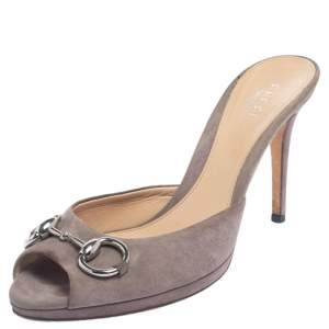 Gucci Beige Suede Horsebit Peep Toe Mule Sandals Size 38.5