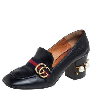 Gucci Black Leather Pearl Embellished Double G Web Mid Heel Loafer Pumps Size 40
