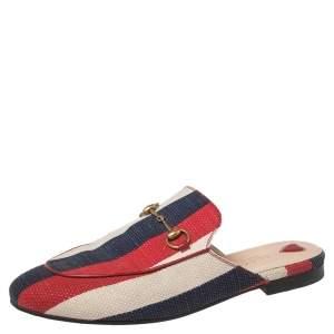 Gucci Multicolor Stripe Canvas Princetown Horsebit Mules Sandals Size 39.5