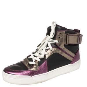 Gucci Metallic Tri Color Leather New Basketball High Top Sneakers Size 40