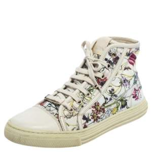 Gucci Multicolor Floral Canvas High Top Sneakers Size 37