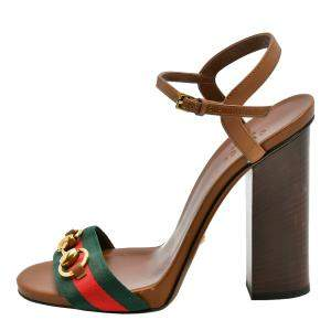 Gucci Brown Leather Horsebit Web Ankle Strap Sandals Size EU 37.5
