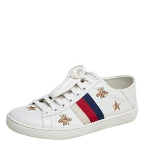 Gucci White Leather Ace Sneakers Size 35