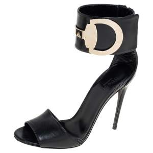 Gucci Black Leather Rooney Icon Bit Embellished Ankle Cuff Sandals Size 37.5