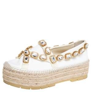 Gucci White Canvas Pepita Crystal Embellished Espadrille Flats Size 37