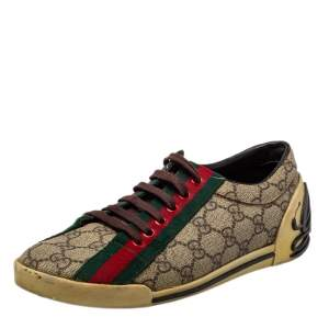 Gucci Beige GG Coated Canvas Web Low Top Sneakers Size 37