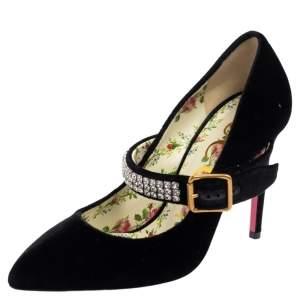 Gucci Black Vlevet Sylvie Embellishment Pumps Size 37.5