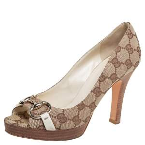Gucci Beige/Brown GG Canvas Horsebit Peep Toe Pumps Size 36.5