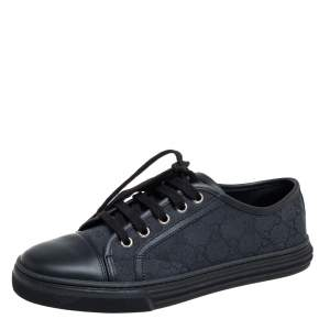 Gucci Black/Blue Leather And GG Canvas Cap Toe Low Top Sneakers Size 38