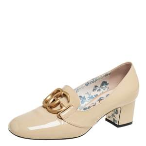 Gucci Beige Patent Leather Victoire GG Logo Block Heel Pumps Size 37