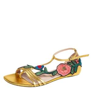 Gucci Gold Leather Ophelia Floral Embroidered Flat Sandals Size 37.5