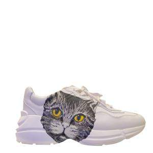 Gucci White Leather Mystic Cat Rhyton Sneakers Size EU 36.5