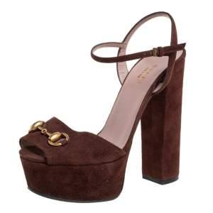 Gucci Brown Suede Horsebit Platform Ankle Strap Sandals Size 36.5