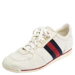 Gucci White Guccissima Leather Web Detail Low Top Sneakers Size 39