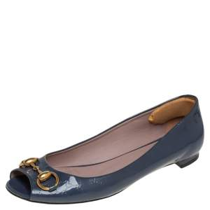 Gucci Cadet Grey Micro Guccissima Patent Jolene Horsebit Detail Peep Toe Ballet Flats Size 37.5