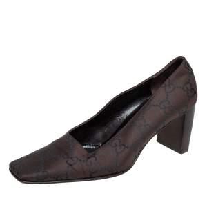Gucci Dark Brown GG Canvas Square Toe Block Heel Pumps Size 37
