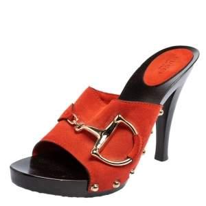 Gucci Orange Suede Horsebit Open Toe Mules Sandals Size 38.5