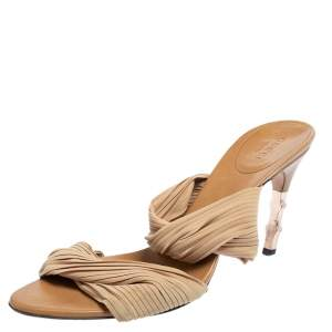 Gucci Nude Fabric Pleated Strap Bamboo Heel Mule Sandals Size 39