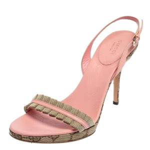 Gucci Pink/Beige Leather And Canvas Open Toe Sandals Size 38