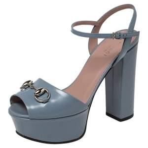 Gucci Blue Leather Horsebit Ankle Strap Platform Sandals Size 35