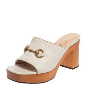 Gucci White Leather Horsebit Platform Slide Sandals Size 39.5
