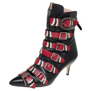 Gucci Black/Red Leather Susan Kingsnake Ankle Boots Size 38